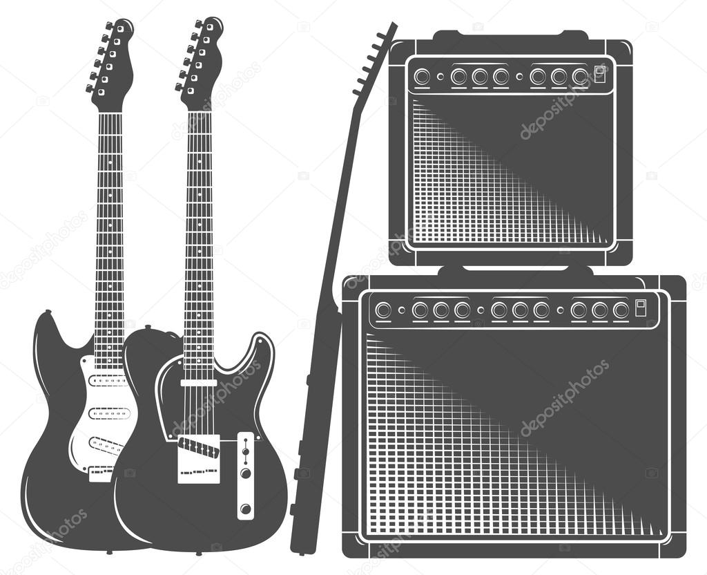 set of flat electric guitar amp stock vector vet 103822084. Black Bedroom Furniture Sets. Home Design Ideas
