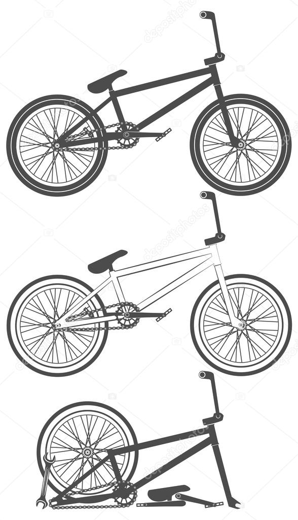 Set Of Bike Bicycle Parts Wheel Chain Stock Vector C Vet 25