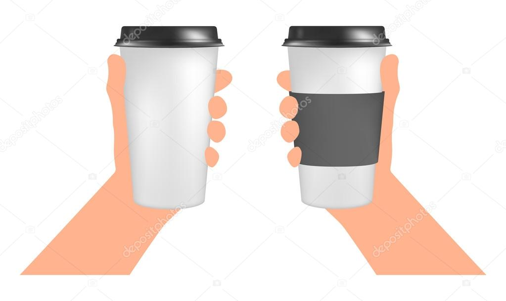 Plastic Coffee Cup Templates In Hand Paper To Go Stock Vector