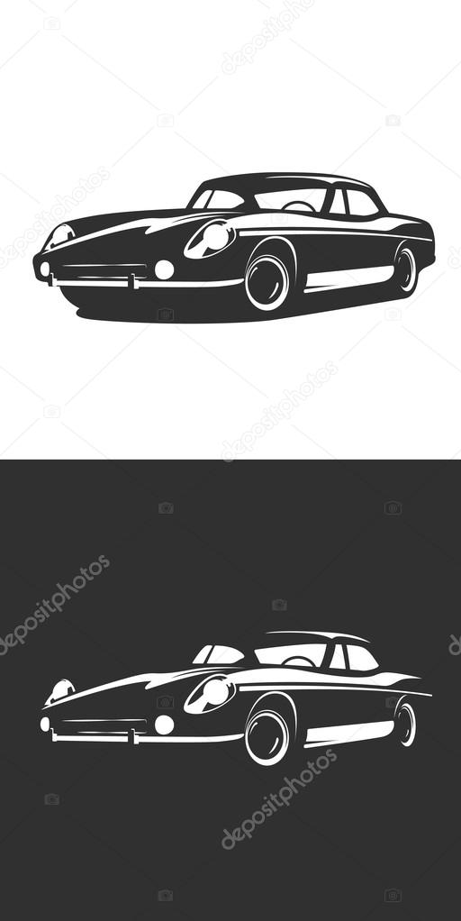 Classic car silhouette isolated, Vintage Retro car vector. Classic ...