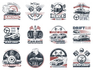 Set of car racing colored emblems, labels and championship race badges