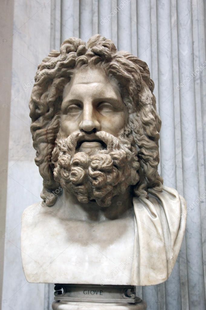 Cabeça de mármore romana antiga de Zeus em Roma — Stock