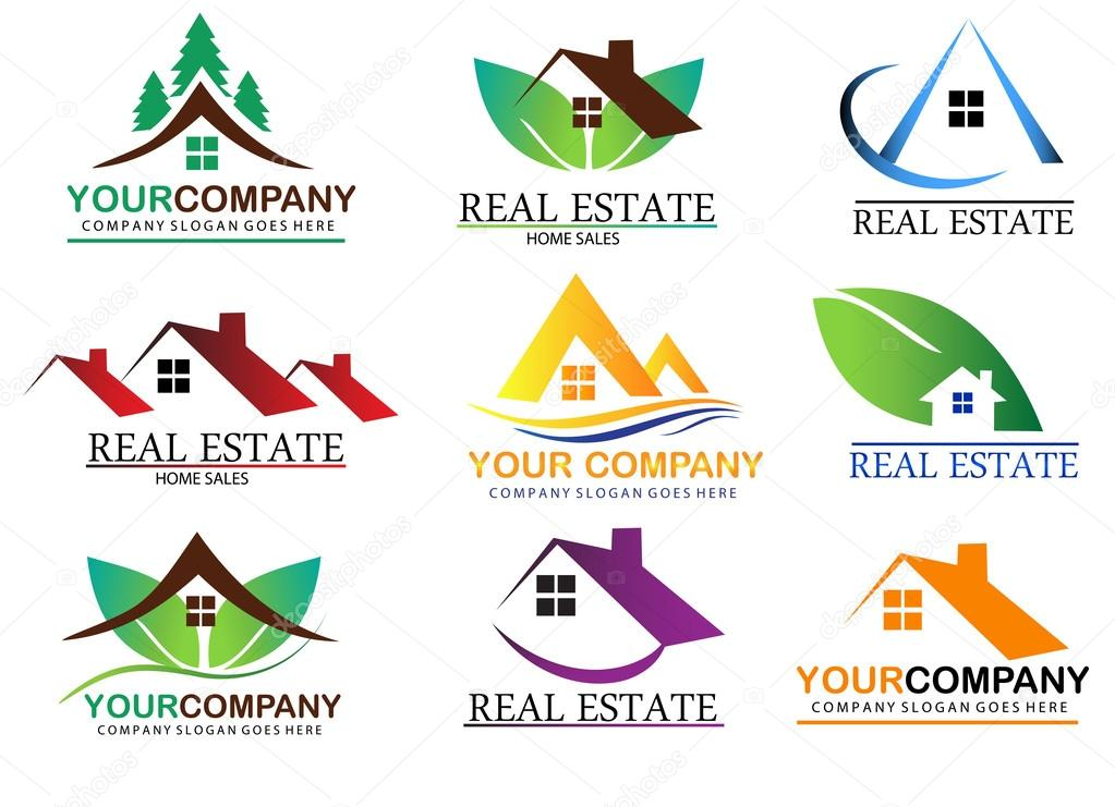 Real estate logo design, home sales. House for rent. stock vector