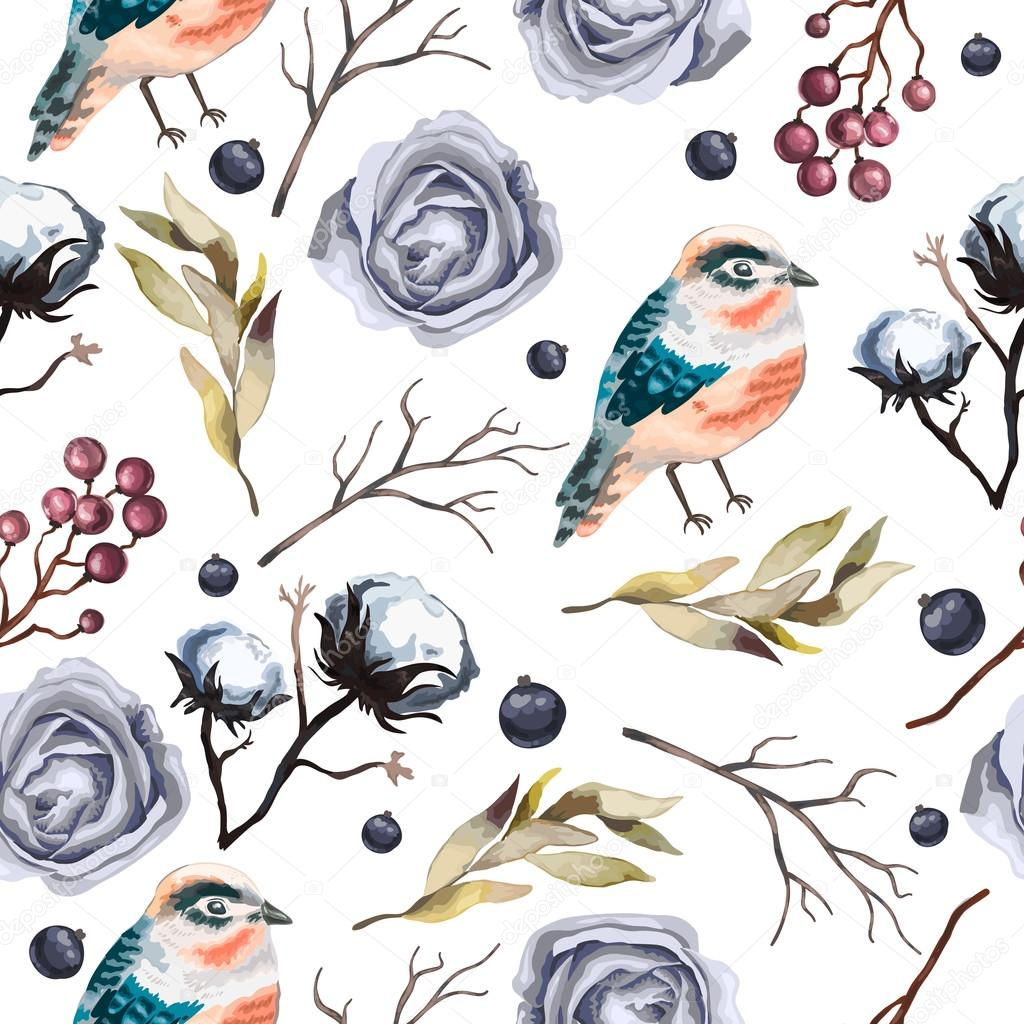 Seamless vector pattern with flowers , branches, cotton, bird