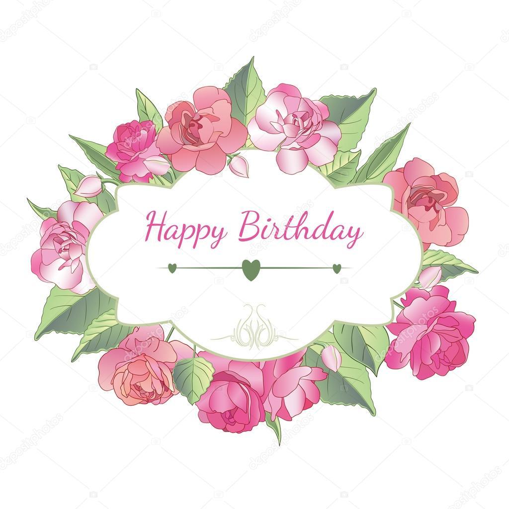 Cartolina Di Buon Compleanno Con I Fiori Balsamo Bella
