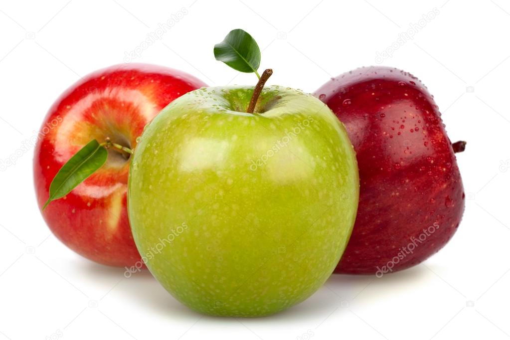 red green apples group isolated on white