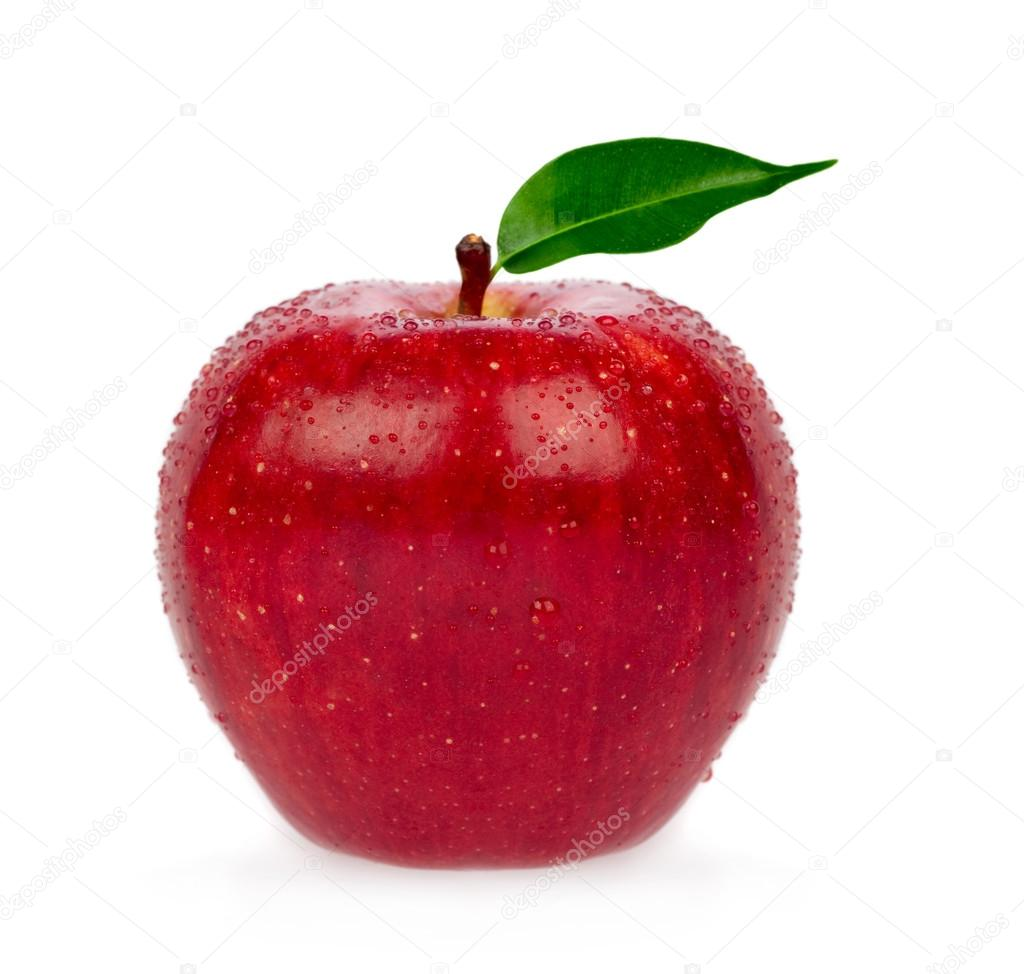 fresh red apple with leaf isolated on white