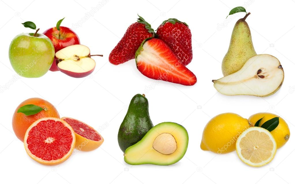 tasty slice of fruit composition set isolated on white