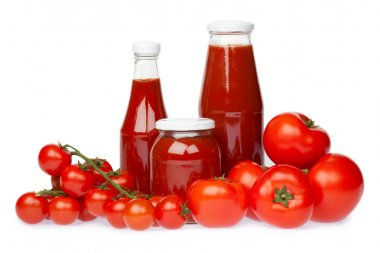 Red vegetable and ketchup composition set isolated on white stock vector