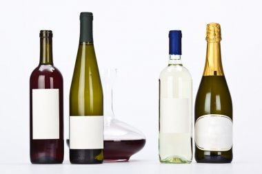 red white wine bottle composition set isolated on white