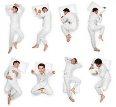 beautiful young man sleep pose composition set isolated on white