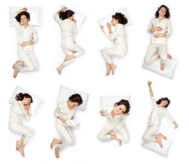 beautiful young woman sleep pose composition set isolated on white