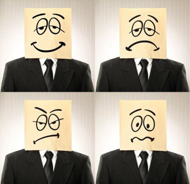conceptual businessman with paper bag  with different expression on the head on vintage background