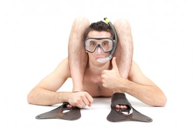 contortionist scuba diver with mask and snorkel isolated on white