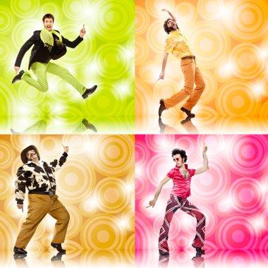 four vintage funny man dance composition set on colored background