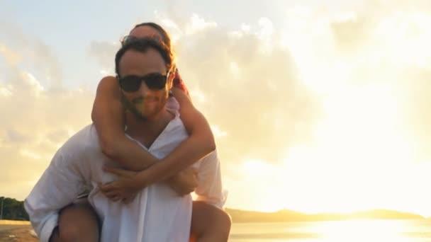 romantic couple have fun on shore
