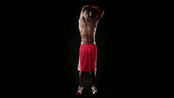 Athletic Man doing stretching