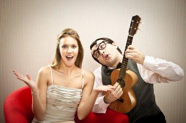 Nerd man boyfriend play ukulele love song for his girlfriend for valentine day stock vector