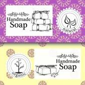 Fotografie Vector set of seamless patterns, labels and logo design templates for hand made soap packaging and wrapping paper