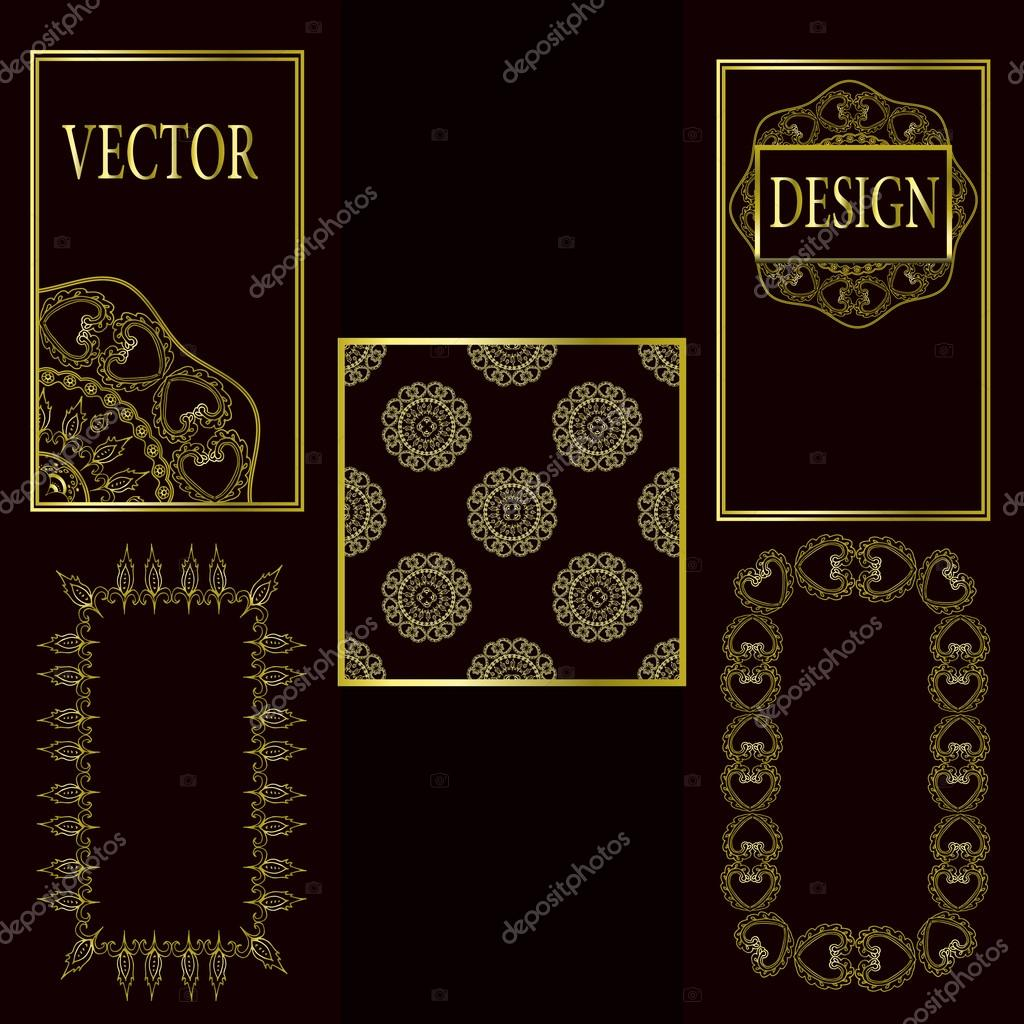 Vector set of design elements, labels and frames for packaging for luxury products in vintage style - places and frames for text, seamless pattern made with gold foil on dark background