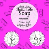 Vector set of seamless patterns, labels and logo design templates for hand made soap packaging and wrapping paper