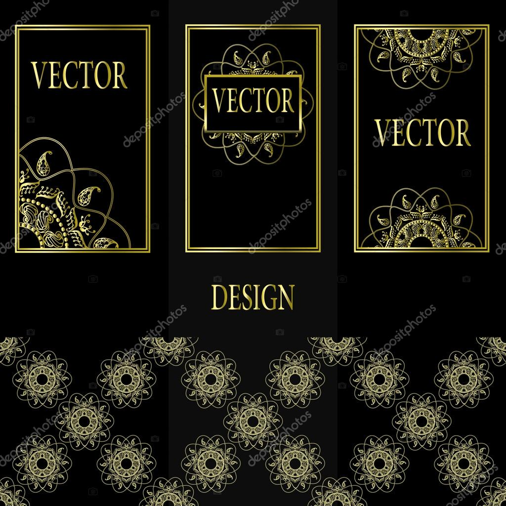 Vector set of design elements, labels and frames for packaging for luxury products in vintage style - places and frames for text, seamless pattern made with gold foil on black background