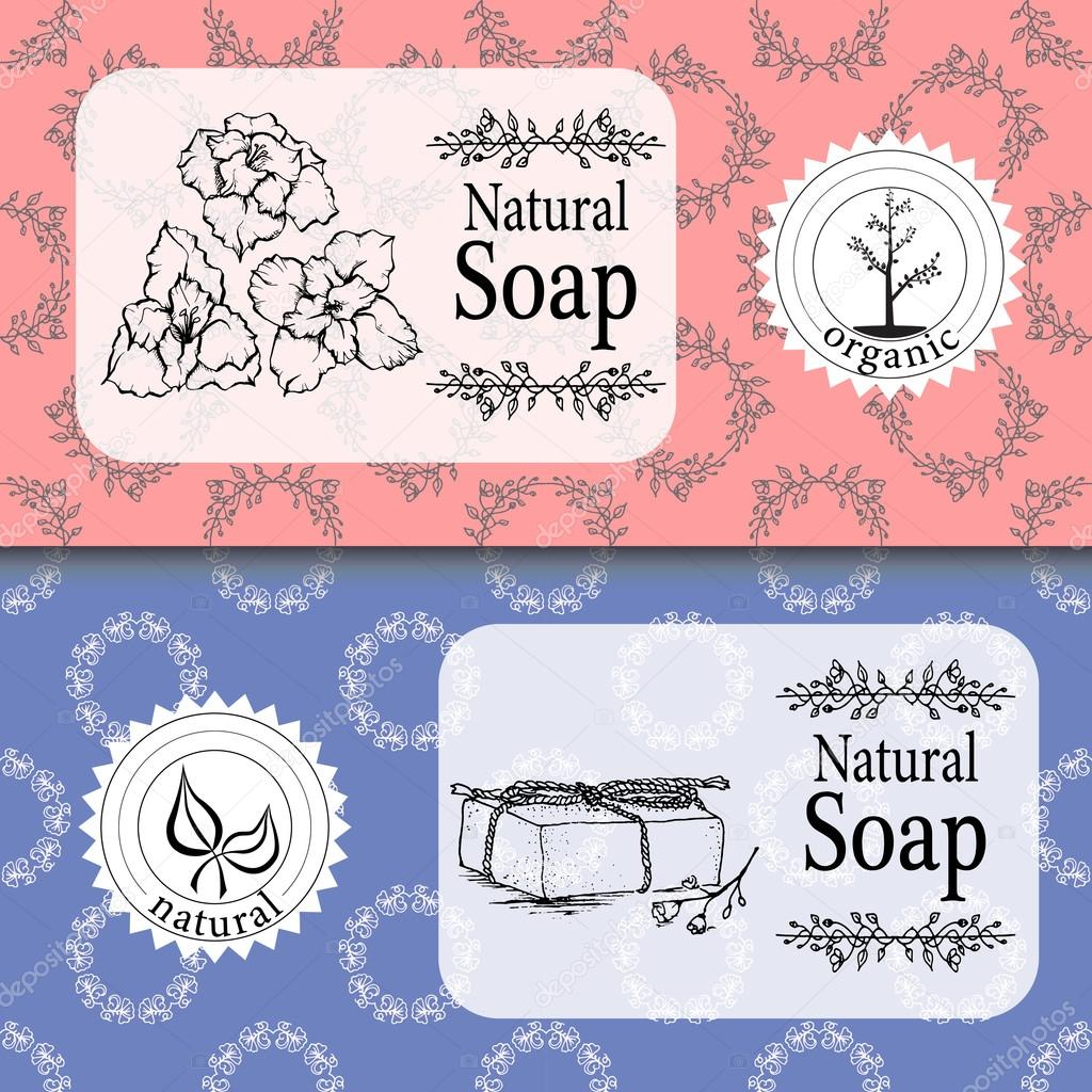 Vector set of seamless patterns, labels and logo design templates for handmade natural soap packaging and wrapping paper