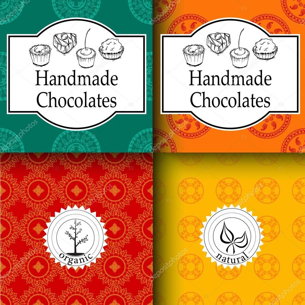 Vectores plantillas de empaquetado de chocolates artesanales y ...