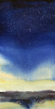 Space hand painted watercolor background. Abstract galaxy painting. Cosmic texture with stars. Night sky