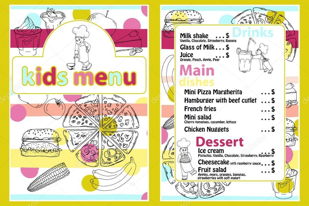 şirin Renkli çocuklar Yemek Menüsü Vektör şablonu Komik Karikatür