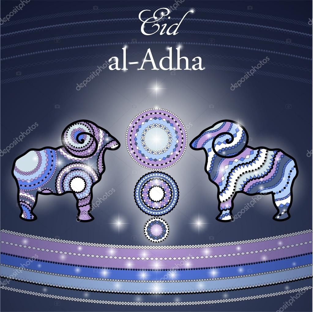 Greeting Card For Eid Al Adha With Sheep Vetores De Stock
