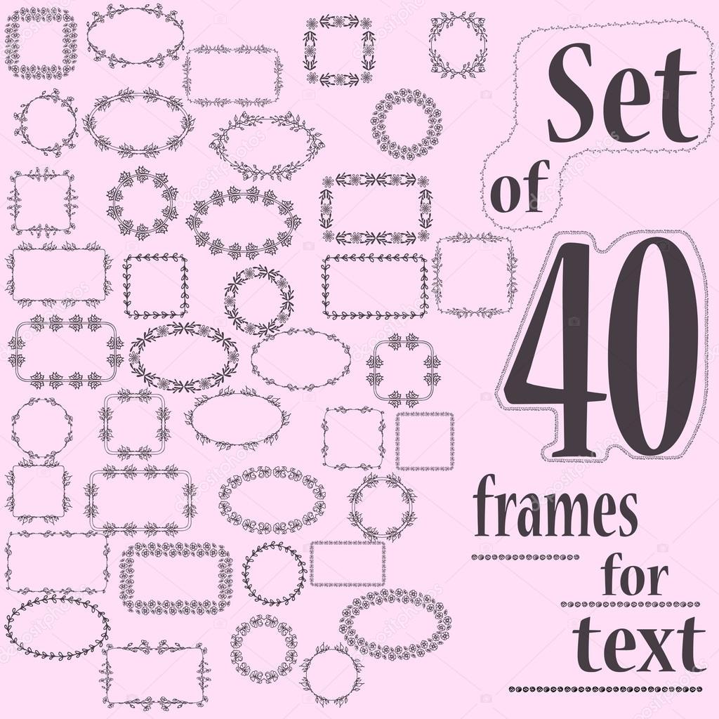 Conjunto de 40 Marcos decorativos para el texto con el patrón ...