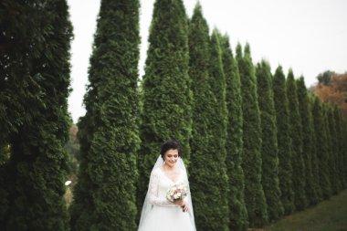Beautiful brunette bride in elegant white dress holding bouquet posing neat trees