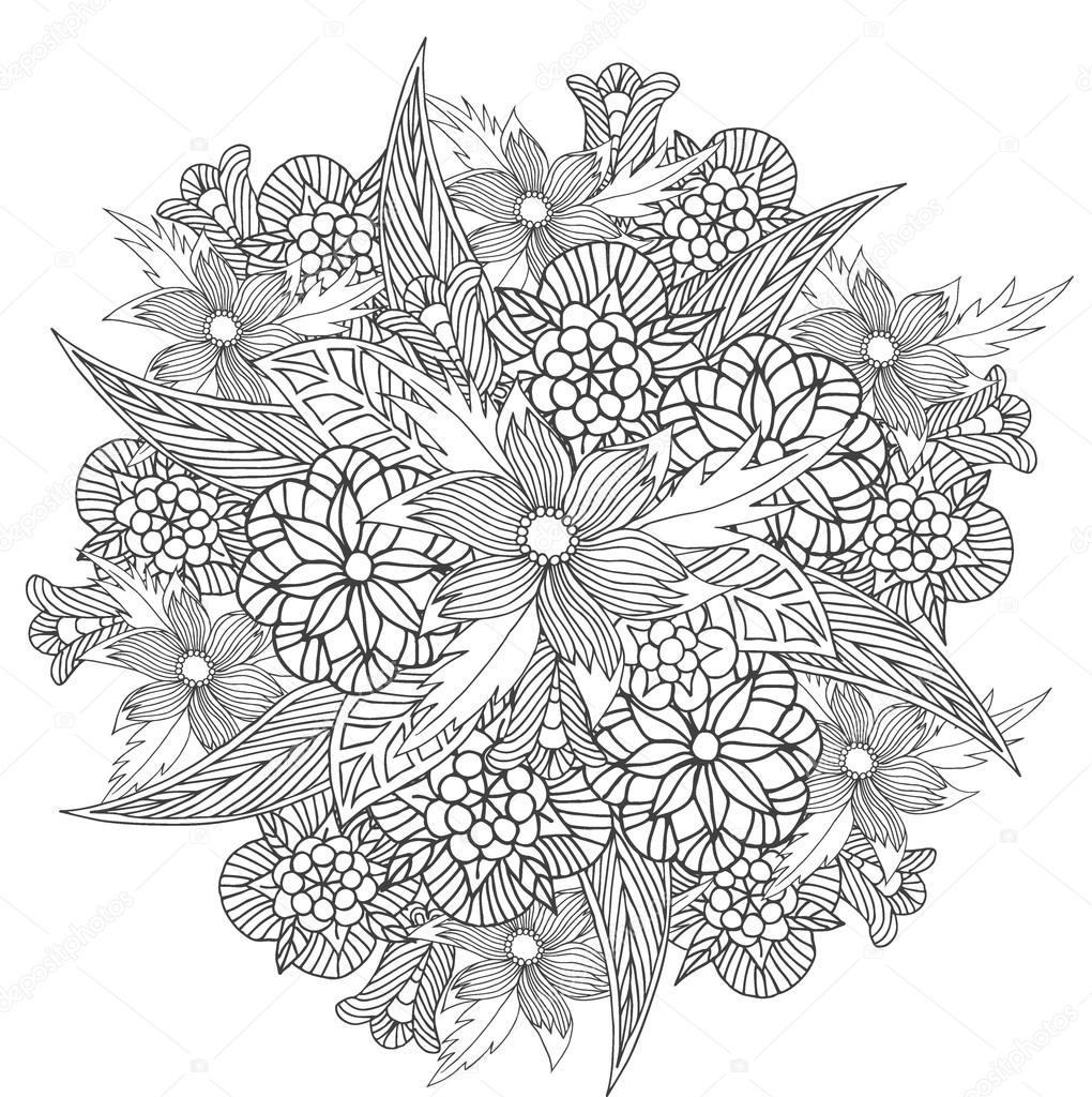 Circle Ornament With Flowers Floral Pattern For Coloring Book