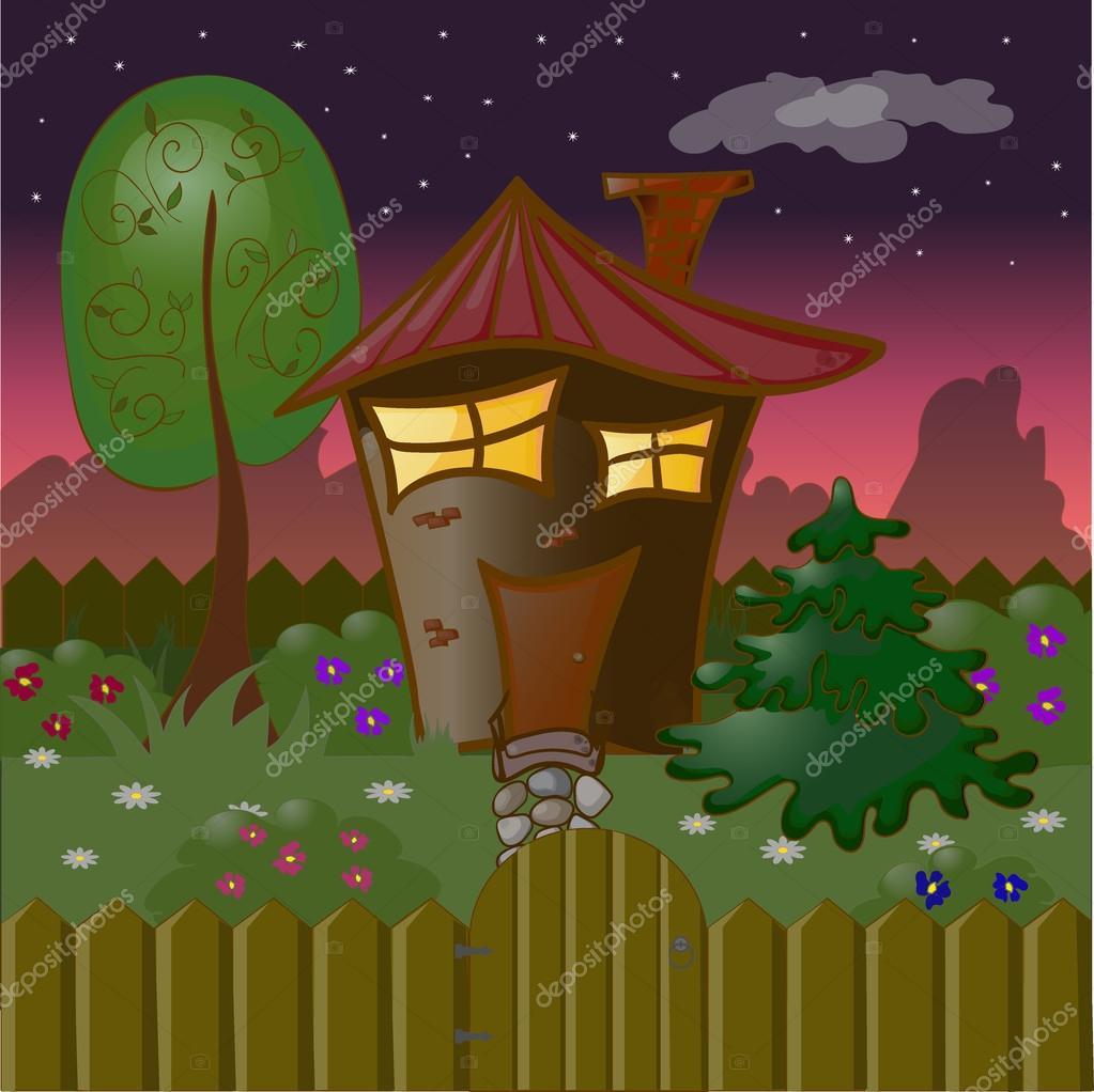 Casa de dibujos animados en noche de verano con un rbol for Arboles y arbustos para jardin