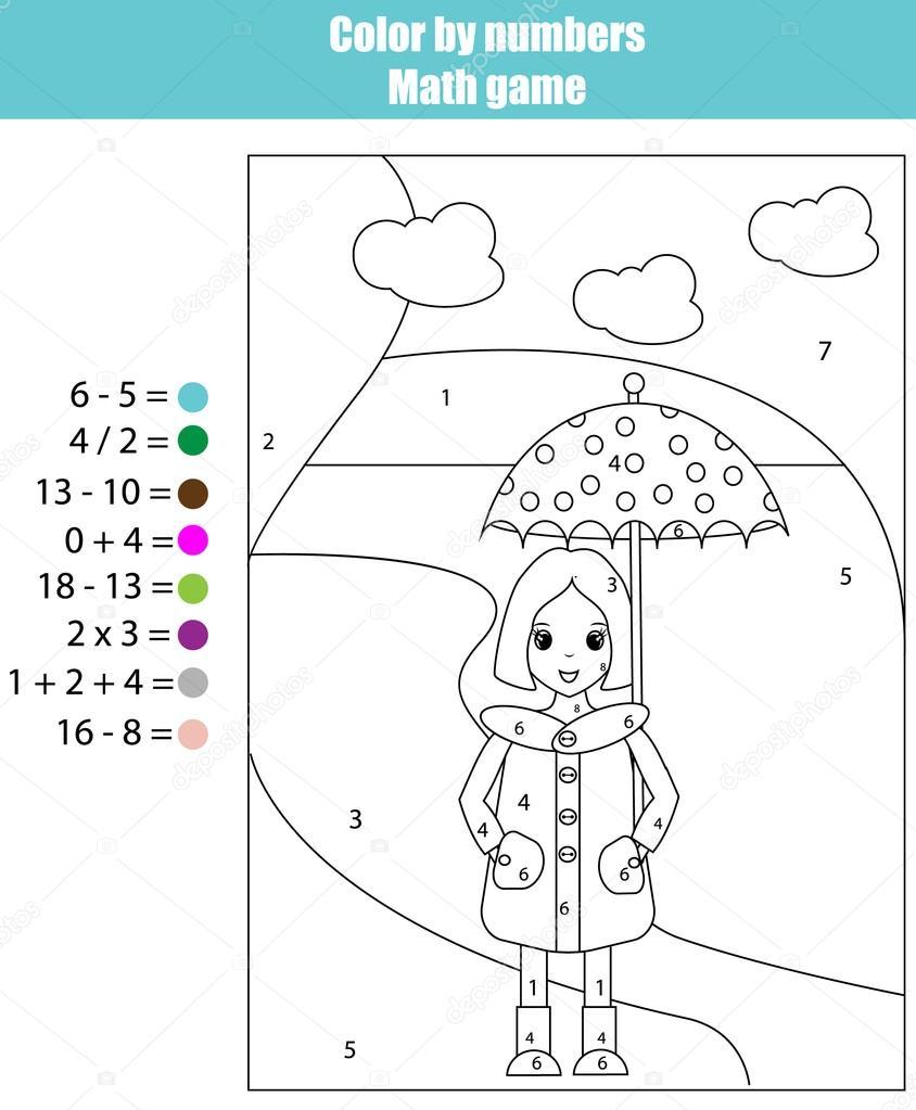 Malseite mit Mädchen. Farbe von Zahlen Mathe-Spiel — Stockvektor ...