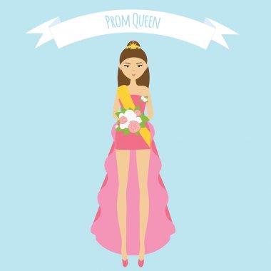 Prom queen flat illustration