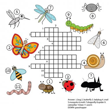Crossword educational children game with answer. Insects theme
