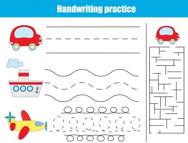 Handwriting practice sheet. Educational children game