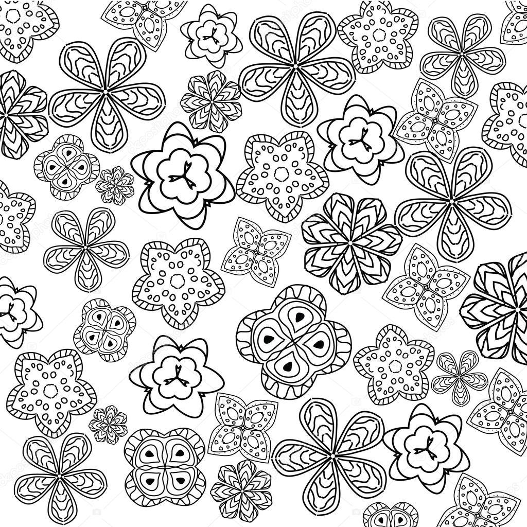 página para colorir com flores de relaxamento para crianças e