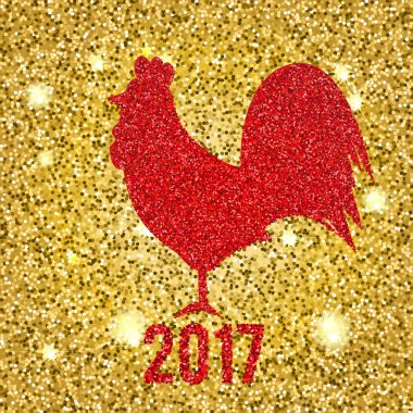 Glittering Red Rooster on golden glittering background new year vector illustration