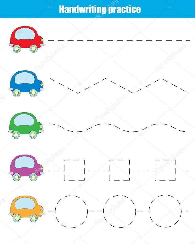 Handwriting practice sheet. Educational children game — Stock Vector ...