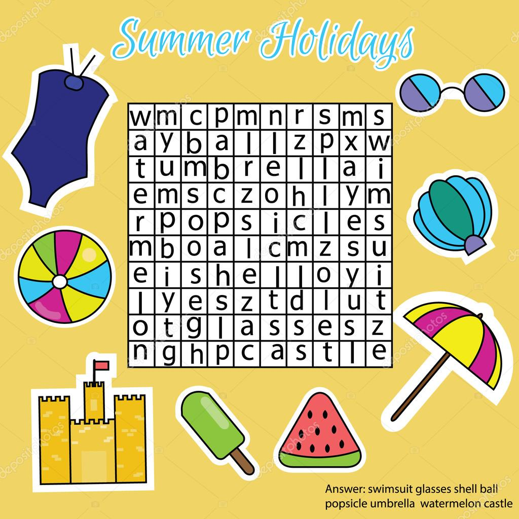 word search puzzle for children educational game summer holidays