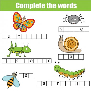 Complete the words children educational game. Insects theme