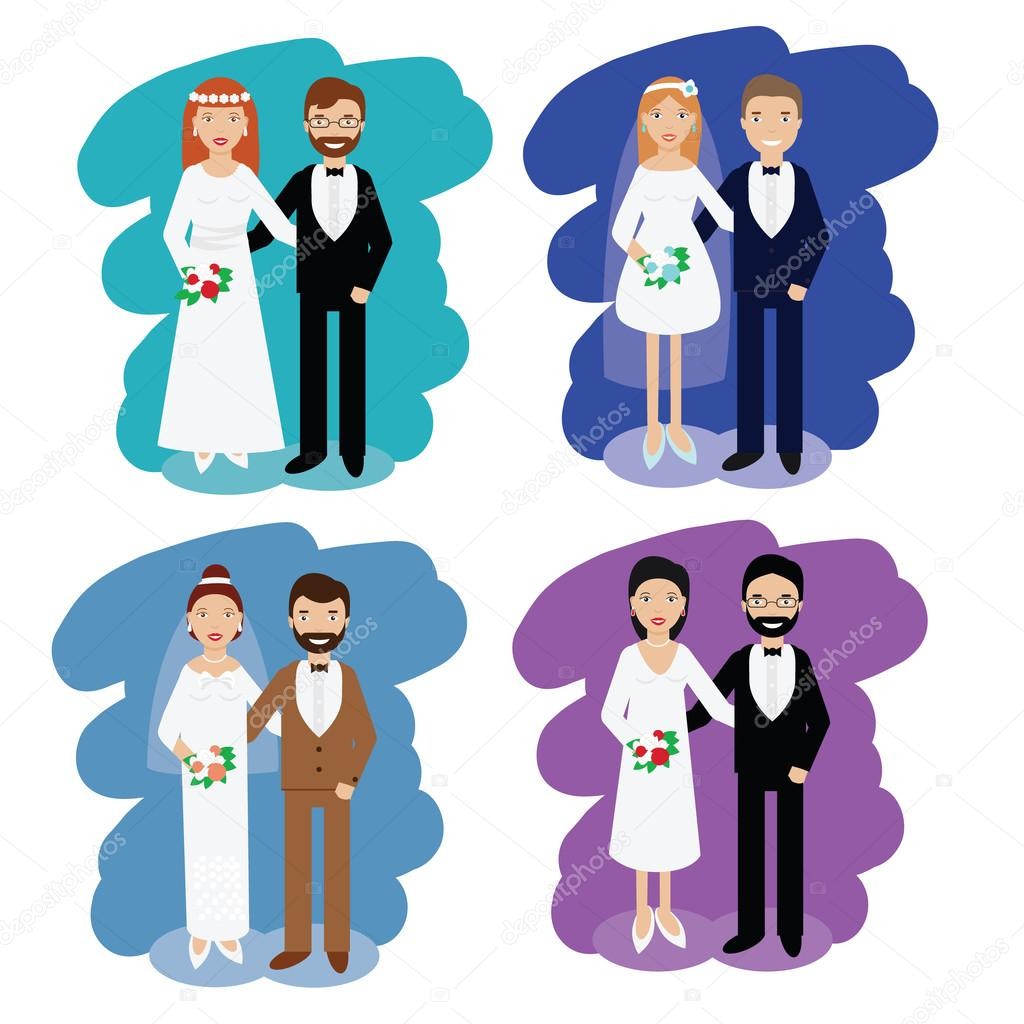 Bodas parejas colección. Sonriendo feliz pares vector ilustración de ...