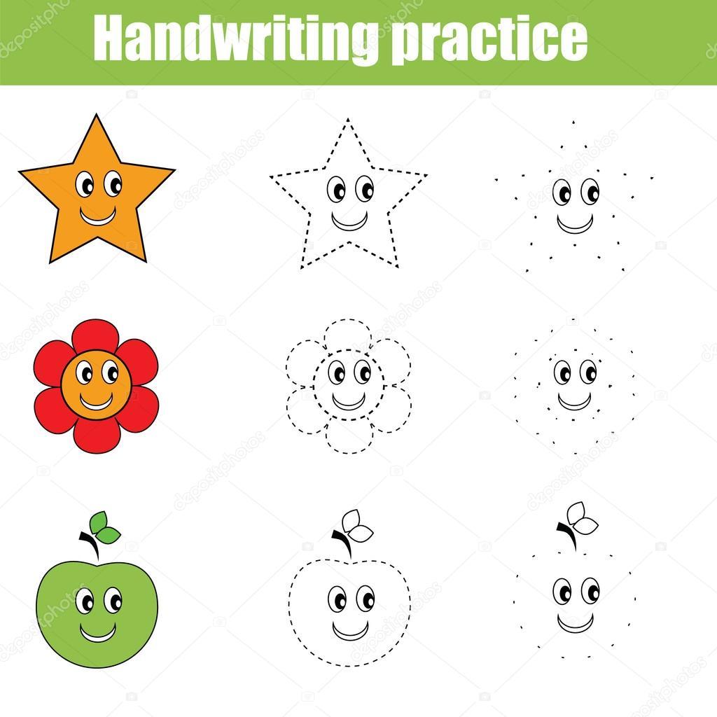 Handschrift-Praxis-Blatt. Pädagogische Kinder Spiel — Stockvektor ...