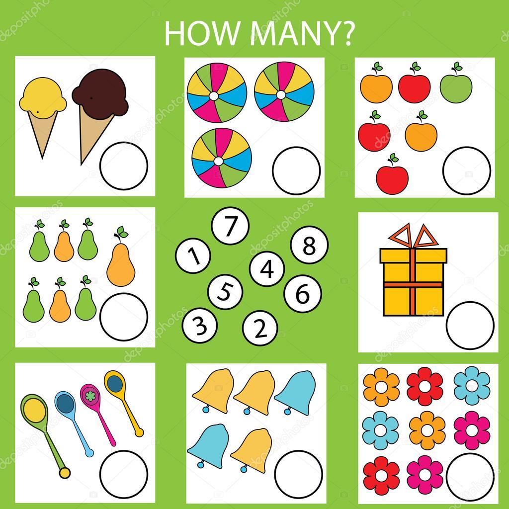 Pädagogische Kinder Spiel zählen. Wie viele Objekte Aufgabe ...