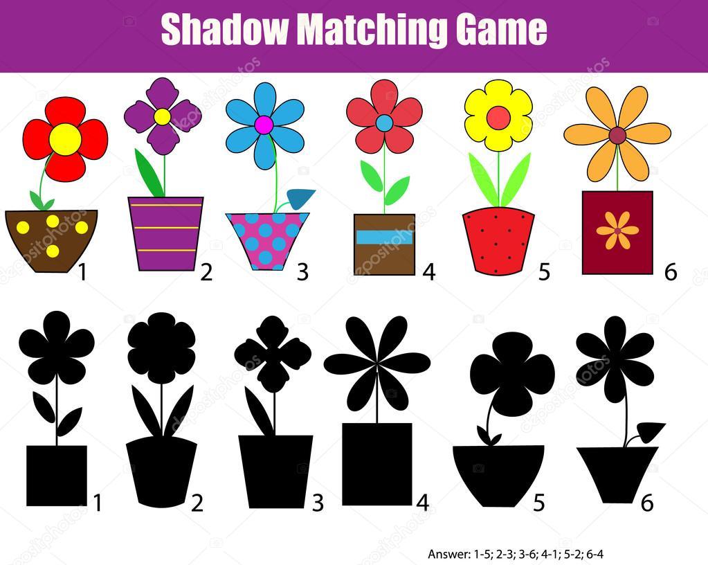 Shadow matching children educational game, kids activity sheet