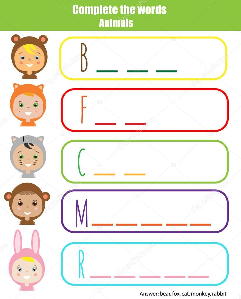 Gmail theme fox - Complete The Words Children Educational Game Learning Animals Theme And Vocabulary Kids Activity Sheet Vector By Bonnyheize Gmail Com