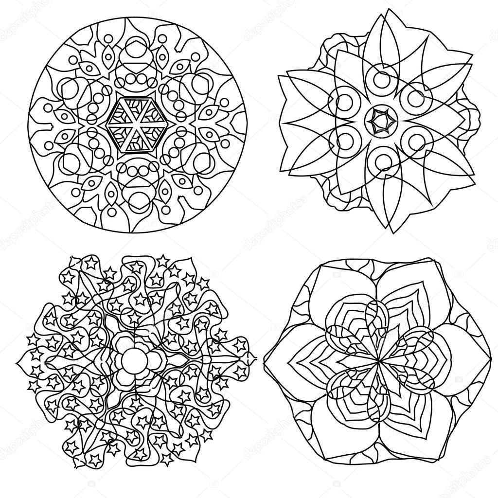 ontspannen kleurplaat met mandala abstracte bloemen voor